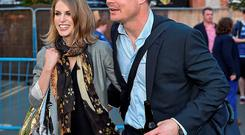 Brian O'Driscoll is greeted by his wife Amy Huberman after playing his final professional game of rugby