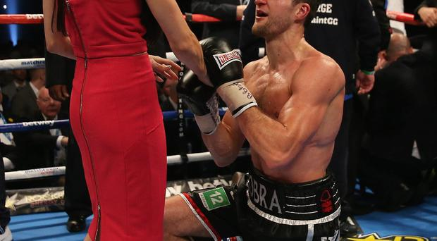 Carl Froch celebrates his victory against George Groves with girlfriend Rachel Cordingley