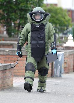 A member of the army bomb disposal unit at the scene in Moneymore. Picture: Paul Connor