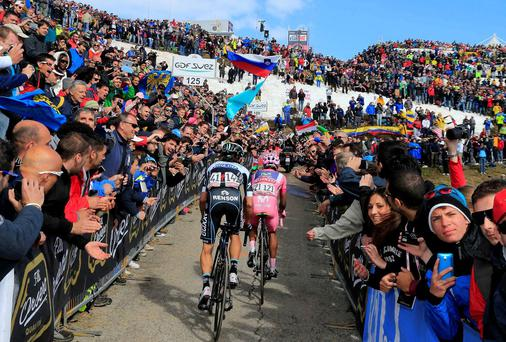 Colombia's Nairo Quintana leads fellowcountryman Rigoberto Uran during the 20th stage of the Giro d'Italia on Saturday before clinching overall victory yesterday. Photo: AP Photo/Gian Mattia D'Alberto