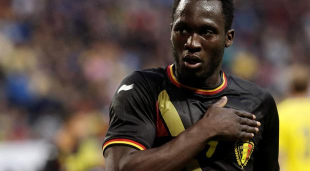 Belgium's Romelu Lukaku celebrates scoring a goal against Sweden during their international friendly soccer match in Stockholm