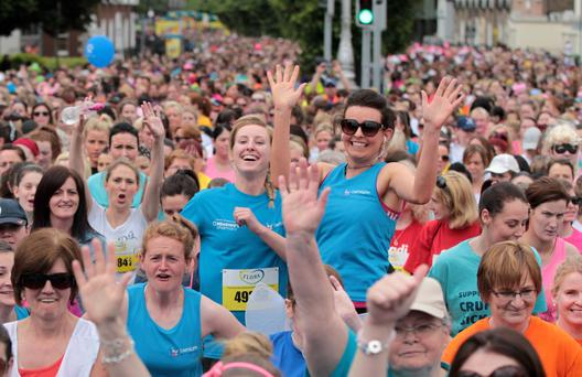 Some of the 40,000 participants in the annual Flora Women's Mini-Marathon in Dublin. Photo: Niall Carson/PA Wire