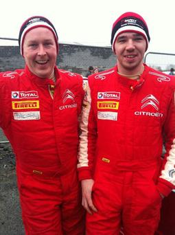 Co- Driver Friver Ray Fitzpatrick on the left with Rally Driver David Carney