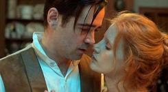 New pictures show Dubliner Colin and redhead beauty Jessica Chastain in an passionate embrace.