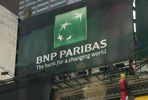 An advertisement for French bank BNP Paribas on Broadway, New York