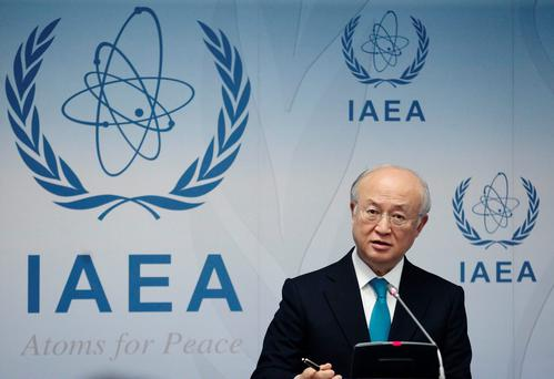 International Atomic Energy Agency (IAEA) Director General Yukiya Amano addresses a news conference after a board of governors meeting at the IAEA headquarters in Vienna