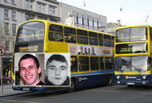 Edward Connors (inset right) was found guilty of the manslaughter of Eoghan Dudley (inset left), who died after being knocked under a bus, but may avoid jail