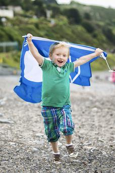Sam O'Donohue (5) on Killiney Beach, Co Dublin which was awarded a Blue Flag at An Taisce's announcement of the International Blue Flag Award and the National Green Coast Award recipients for 2014. Photo: Naoise Culhane