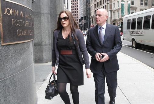 Former Anglo Irish Bank CEO David Drumm and his wife Lorraine arrive at the US Bankruptcy Court in Boston yesterday.