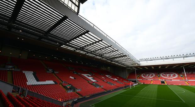 View of The Kop stand at Anfield, Liverpool FC. GETTY images