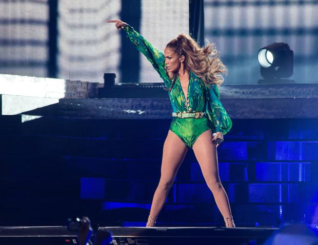 Jennifer Lopez performs at Orchard Beach on June 4, 2014 in Bronx, New York. (Photo by Dave Kotinsky/Getty Images)