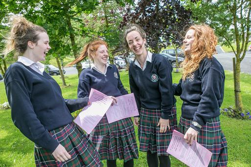 Alice Carey, Anna Walsh, Aisling Butler and Linda Mooney had just finished their first english paper in the Leaving Cert at the Presentation Secondary School in Kilkenny. Photo: Pat Moore.