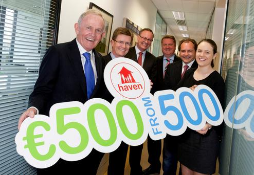 From left - Haven's Leslie Buckley, Ruaidhri Gibbons - KPMG partner, Conor McDonnell - Arthur Cox, Jeff Smith - CEO Bilfinger Ireland, David Maguire of BNRG Renewables