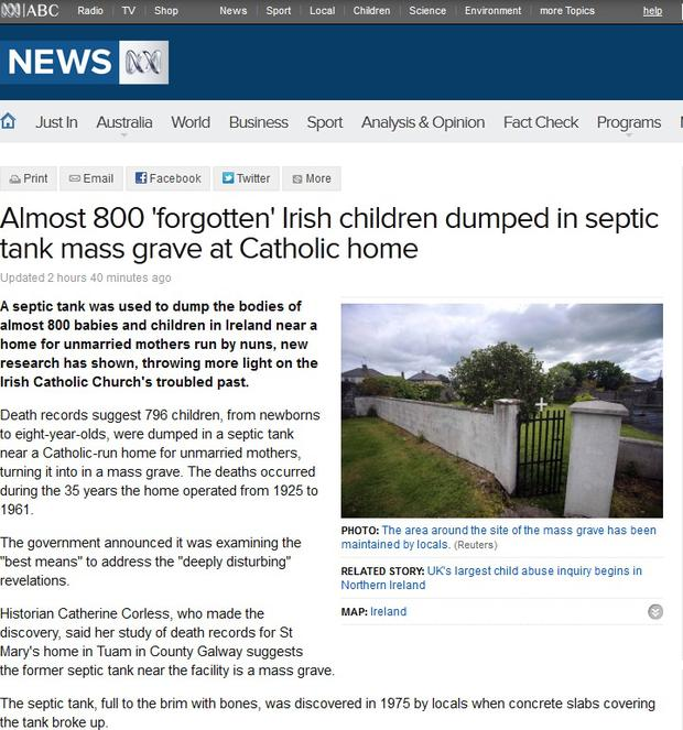 ABC Australia reports that the babies were left 'forgotten' in the grave