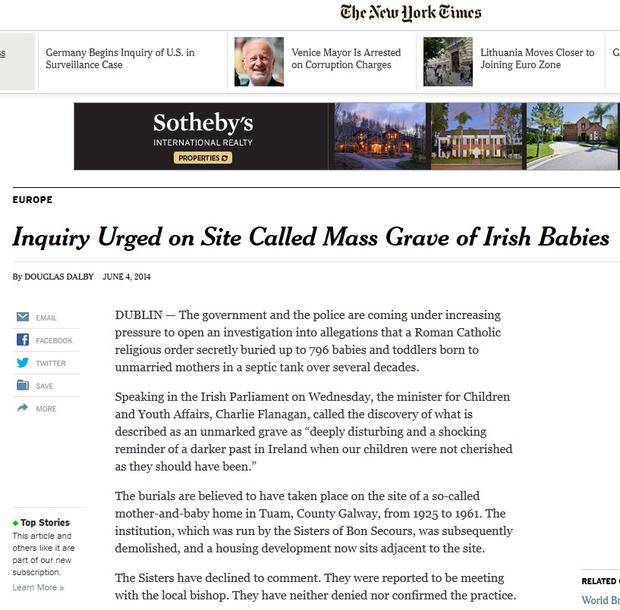 The New York Times reports that an inquiry has been called after the discovery of the grave