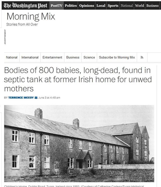 The Washington Post reports that the 'long dead' bodies were found in a home for 'unwed' mothers.