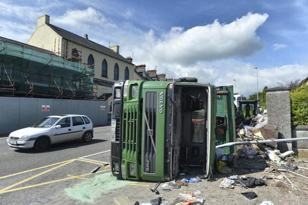 The fully-laden 12 wheel truck which overturned outside two schools in Fermoy, Co Cork Pic Michael Mac Sweeney/Provision