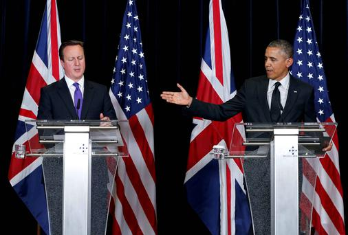 Britain's Prime Minister David Cameron and US President Barack Obama hold a joint news conference at the end of a G7 leaders meeting at European Council headquarters in Brussels. Reuters
