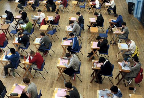 Pupils of Marian College, Ballsbridge, Dublin sitting their Leaving Certificate Examination which began last Wednesday. Photo: Tom Burke
