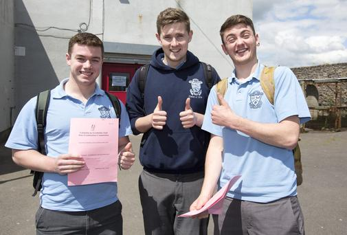 Students of Malahide community college (from left) Simon Prior, Conor Kilbride and Dylan Doyle after finishing their Engineering higher level Leaving Cert exam.