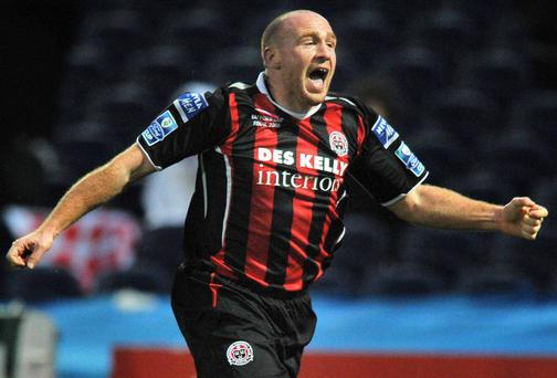 Glen Crowe celebrates after scoring for Bohemians in the 2008 Ford FAI Cup final