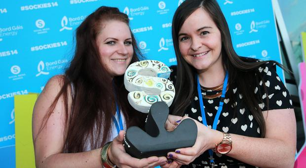Sarune Zerauskaite and Kathleen O'Rourke, Tour America, winners of the Best Use of Social Media by a SME Award at the Bord Gais Social Media Awards at the Bord Gais Theatre in Dublin. Picture:Arthur Carron