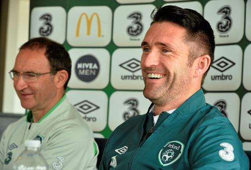 Republic of Ireland manager Martin O'Neill with Robbie Keane