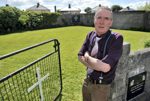 J.P. Rodgers from Williamstown who was born at the Mother and Baby Home in Tuam pictured at the Babies graveyard in Tuam. Photo: Ray Ryan