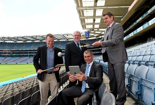 Liam Sheedy, centre, Hurling 2020 Chairman, with, from left former Clare hurler Frank Lohan, Ed Donnelly, Hurling 2020 Secretary, and former Offaly hurler Michael Duignan during the Hurling 2020 Website and Survey launch