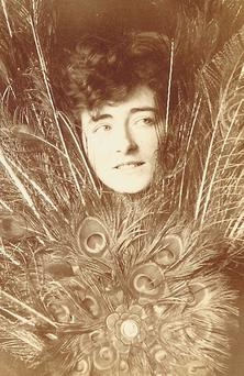 Daring: Eileen Gray dressed as a peacock. Photo: National Museum of Ireland.