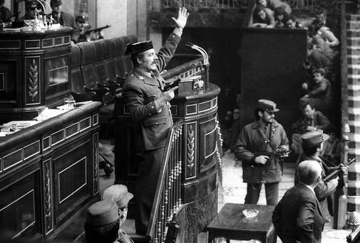 Antonio Tejero and fellow soldiers storm parliament in an attempted coup in 1981