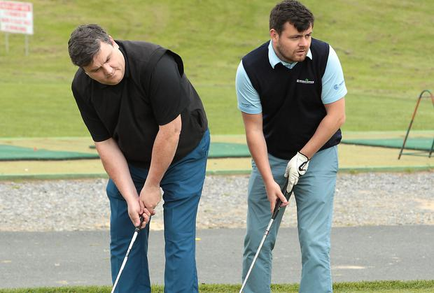 d54bf81029ae Actors Simon Delaney and Laurence Kinlan at The 13th Ronnie Whelan Golf  Classic