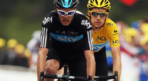 Bradley Wiggins could be set for a move away from Team Sky after admitting he was unlikely to go to the Tour de France, with the team for next month's race built around teammate Chris Froome (left). Photo: Bryn Lennon/Getty Images