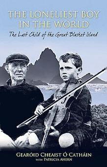 Last survivor: Gearóid as a child with one of the adults on the island