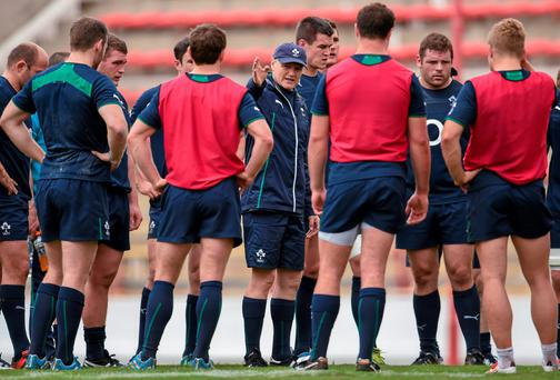 Ireland head coach Joe Schmidt speaks to players ahead of their opening test game against Argentina