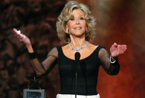 Honoree Jane Fonda accepts the AFI Life Achievement Award onstage at the Dolby Theatre in Hollywood, California