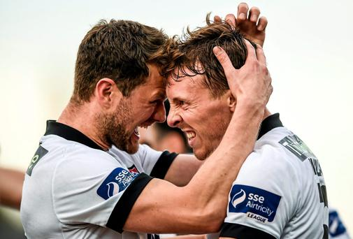 David McMillan (right) is congratulated by Dane Massey after scoring Dundalk's first goal against Sligo Rovers in the FAI Ford Cup second round. Photo: Paul Mohan / SPORTSFILE