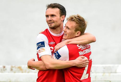 Conan Byrne celebrates with Conor McCormack after scoring St Patrick's Athletic's first goal against St Patrick's CY in the FAI Ford Cup second round tie. Photo: Matt Browne / SPORTSFILE
