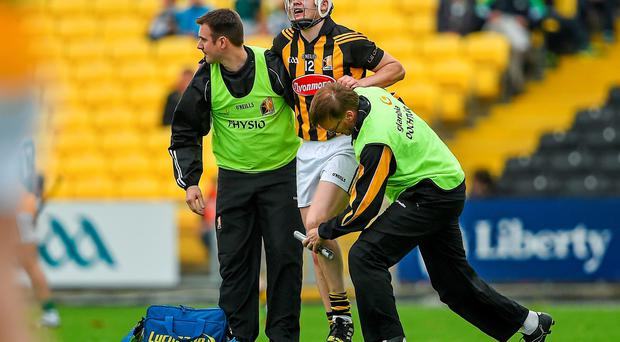 Kilkenny's TJ Reid reacts before leaving the pitch with a knee injury
