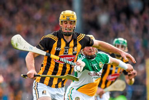Kilkenny's Colin Fennelly in action against Offaly's James Rigney during their Leinster SHC clash at Nowlan Park. Photo: Ray McManus / SPORTSFILE