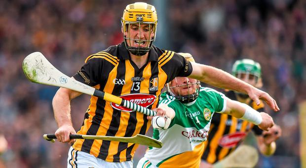 Kilkenny's Colin Fennelly in action against Offaly's James Rigney during their Leinster SHC clash at Nowlan Park last night. Photo: Ray McManus / SPORTSFILE