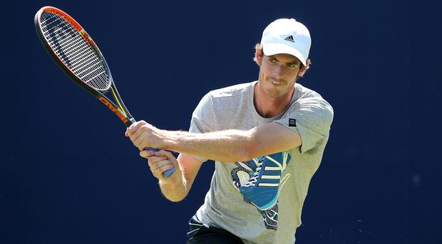 Andy Murray during a practice session ahead of the AEGON Championships at Queens Club in London today