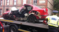The remains of the car after the accident. Credit: Conor Feehan