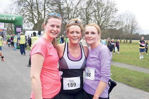Pictured at the finish line of this year's Fit City Series race at the Phoenix Park in March were Emer Mullaney from Sligo, Paula Fleming from Clonee, and Emer Kiniry from Chapelizod. The Cork event takes place in July.