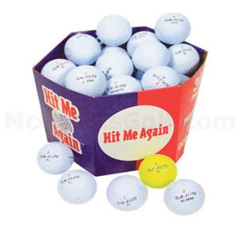 The box of mixed golf balls.