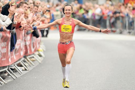 Pauline Curley, of Tullamore Harriers, on her way to winning the Cork City Marathon last Monday. Tómas Greally