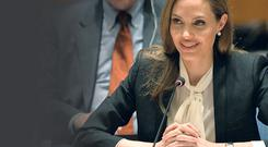Star quality: Angelina Jolie speaks at a UN security council meeting. Getty Images