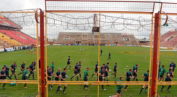 The intimidating sight which Ireland's players faced on the captain's run prior to the first Test against Argentina in Resistencia. Photo: Stephen McCarthy / SPORTSFILE