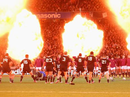 England face the All Black Haka during the International Test Match between the New Zealand All Blacks and England at Eden Park in Auckland, New Zealand. (Photo by David Rogers/Getty Images)