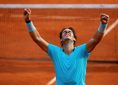 Rafael Nadal celebrates after winning his men's singles final match against Novak Djokovic